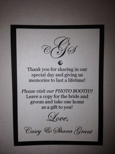 Wedding photo booth favor poem
