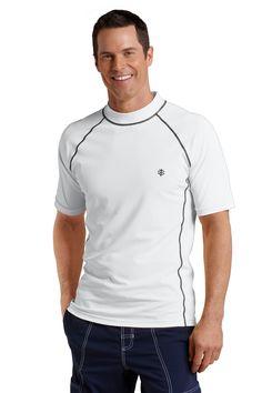 Men's Sun Protection Swim Shirt, White - Short Sleeve