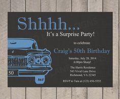 Adult Birthday Invitation, Man's Adult Birthday Invitation, Surprise, Birthday Party, For Men, 30th, 40th, 50th, 60th, 70th, Car, B027