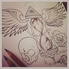 Amazing Skull, Time and Wings Line art Tattoo inspiration  - Sketch design by ~EdwardMiller on deviantART