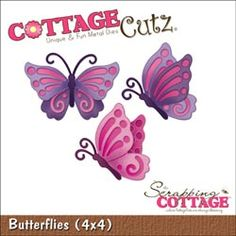 """CottageCutz - CottageCutz Die 4""""X4"""" - Butterflies"""