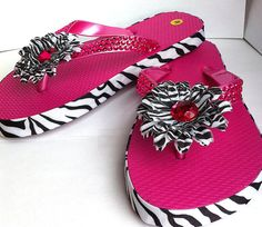 hot pink zebra striped childrens flip flopshouse by BeadingByJenn, $21.00 #pcfteam