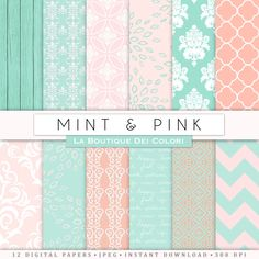 Pink and mint digital paper Bridal patterns for wedding invite save the date cards scrapbooking  Commercial Use floral lace. #Pink #Wedding #PinkWedding #Paper
