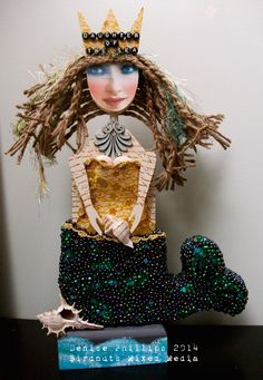 'Daughter of the Sea' Altered Mixed Media Art Doll by Denise Phillips Birdnuts Mixed Media  (Wood Blank by Desert Dreams Studio)