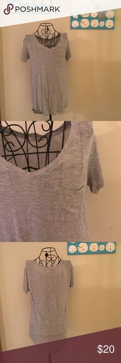 Grey tee Asymmetrical grey tee with pocket. Soft. Tops Tees - Short Sleeve