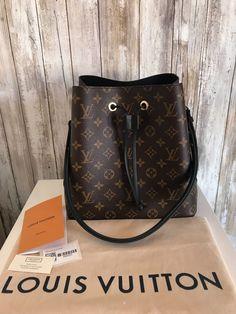 e8fdb2c517668c 100%LOUIS VUITTON NeoNoe Neo Noe Noir Monogram Tote Bucket Cross Body Strap  Bag