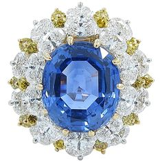 Oscar Heyman Natural Ceylon Sapphire and Diamond Ring | From a unique collection of vintage more rings at https://www.1stdibs.com/jewelry/rings/more-rings/