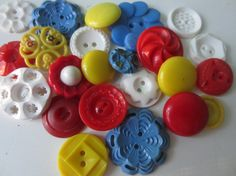 Vintage Buttons  Cottage chic mix of blue red by pillowtalkswf, $8.95