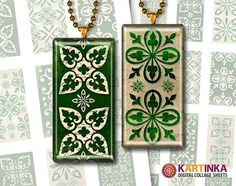 St Patrick LUCKY DOMINOS  1x2 inch Digital Collage by KARTINKAshop, $3.50