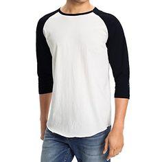 606c66510 Men s Plain Baseball Athletic 3 4 Sleeve 100% Cotton Tee Shirt (X-
