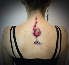 Wine Glass Tattoo by Yeliz Ozcan
