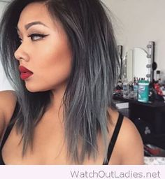 Silver hair color and wine lip color