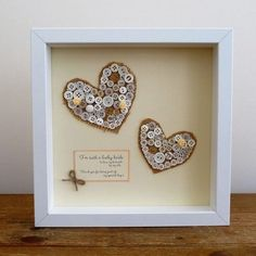 Personalised Two Hearts Button Framed Picture This stunning Personalised Two Hearts Button Framed Picture makes a fabulous Wedding gift for the bride and groom. £40.00