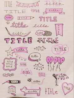 Bullet Journal Doodles: 24 Amazing Doodle Ideas For Beginners & Beyond These bullet journal doodles and doodle tips and ideas are exactly what you need to learn how to doodle. Perfect for beginners and more advanced doodlers! Bullet Journal School, Bullet Journal Headers, Bullet Journal Banner, Bullet Journal Notebook, Bullet Journal Ideas Pages, Bullet Journal Inspiration, Study Inspiration, Schrift Design, Journal Fonts