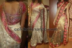 Off white benaras saree teamed with baby pink color thread work applique floral border, self zari work all over with mirror work embellished, Paired with pink raw silk short sleeves designer blouse. The blouse embellished with sequins, kundan and maggam work throughout the blouse with broad round back neck pattern.