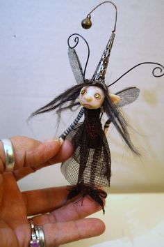 ooak poseable little BUG FAIRY ( 76 ) pixie polymer clay art doll by DinkyDarlings by DinkyDarlings on Etsy