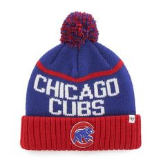 69b9918a0b3a01 Chicago Cubs Beanie '47 Brand Linesman Knit Hat. The hat features a woven  graphic pattern with a large team color pom up top. The Chicago cap  features a ...