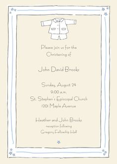 Personalized Baptism Suit Invitations
