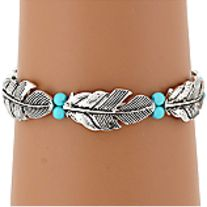 """5"""" Wide * Silvertone * Faux Turquoise Beads * Comfort Stretch Band * Lead Compliant"""