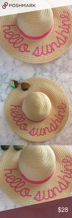 Hello Sunshine Embroidered Beach Hat NWT Brand new with tags Embroidered floppy straw beach hat. Packable, crushable. Accessories Hats
