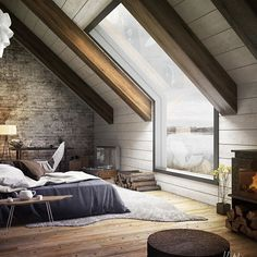 Dreamy attic bedroom Sweet dreams everyone! #bedrooms #attic #window #bedroomdecor #soverom #interior_delux Via houzz by Raj