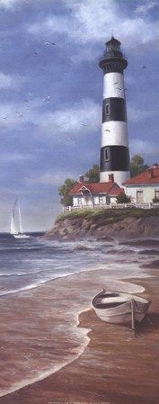 Lighthouse Shoals II Fine-Art Print by T.C. Chiu at FulcrumGallery.com Lighthouse Art, Lighthouse Drawing, Beach Art, Home Art, Watercolor Paintings, Tole Painting, Lighthouses, Photo Mer, Art Boards