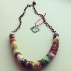 Leaves shibori felt necklace.