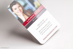 Contemporary vertical realtor business card template with rounded corners and spot uv - Lauren Davis