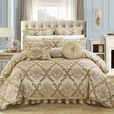 Dress up your bed with the Antonio Jacquard Scroll Beige Comforter Set from Chic Home. Featuring a beige floral pattern, this microfiber and polyester bedding set will provide a comfortable b Beige Comforter, Bedroom Comforter Sets, Silk Bedding, Queen Comforter Sets, Striped Bedding, Luxury Bedding, Modern Bedding, Bed Spreads, Bedroom Decor