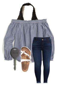 """Untitled #419"" by ksmithh ❤ liked on Polyvore featuring Hollister Co., J.Crew, KUT from the Kloth, Birkenstock and Cherokee"
