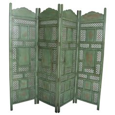 Home Decor Screens screens and room dividers save up to 70 houzz Shop For Wanderloot Leela Green 4 Panel Hand Painted Wooden Screen India