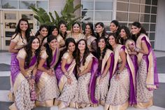 Gorgeous bridesmaid saris for the Indian wedding in Long Beach! Love the way it looks with so many bridesmaids. Hyatt Regency Long Beach | ShaadiShop Photography: Samson Productions www.shaadishop.co