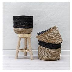 Basket, Black/Nature Schöner Bastkorb, Schwarz/Natur, S Bastkorb