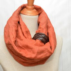 Linen Infinity Scarf. Chunky Scarf. Natural Linen. by LinenLea