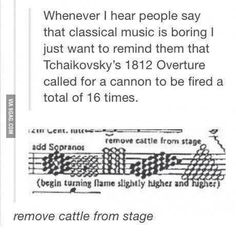 *remove cattle from stage* / classical music / Tchaikovsky / 1812 Overture / canon fired 16 times Music Jokes, Funny Music, Band Jokes, Funny Quotes, Funny Memes, Band Nerd, I Love Music, Music Happy, Tumblr Posts