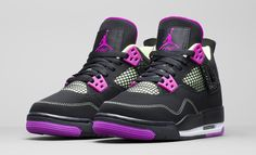 """One of Jordan Brand's GS releases, the Air Jordan 4 GS """"Fuchsia"""" is slated to hit stores on January 17th, 2015, retailing for $140."""