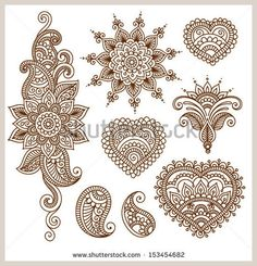 Ornamental flowers Vector set with abstract floral elements in indian style