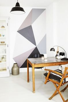 Workspace with gray geometric paint DIY.