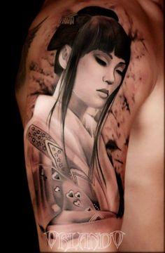 Incredible Tattoo by Orlando #geisha #portrait #culture #art                                                                                                                                                                                 Más