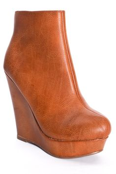 TAN ANKLE WEDGE BOOTIES