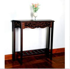 Traditional Console Table With 4 Sturdy Legs Living Room Decor Dark Brown Finish