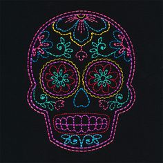 Linework Sugar Skull embroidery design from the Folk Stitchery collection by OESD