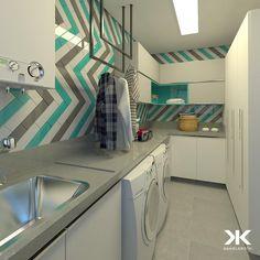 """1,468 curtidas, 28 comentários - DANIEL KROTH Arquitetura (@danielkroth) no Instagram: """"A escolha dos revestimentos em harmonia com o Projeto dos móveis pode tornar até mesmo uma simples…"""" Stacked Washer Dryer, Kitchen Cabinets, Home Appliances, Storage, House, Laundry Rooms, Furniture, Home Decor, Kitchens"""