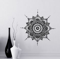 Mandala Wall Decal Yoga Studio Vinyl Sticker Decals Ornament Moroccan Pattern Namaste Lotus Flower Home Decor Boho Bohemian Bedroom Art ✦