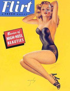 """Flirt Magazine - Woman in black swimsuit - Art by Billy DeVorss - Board """"Art - Billy DeVorss"""" - Vintage Magazines, Vintage Ads, Vintage Prints, Men's Magazines, Cool Magazine, Male Magazine, Magazine Covers, Vargas Girls, Earl Moran"""