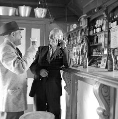 Ireland This is James P. O'Dea (left) and Fred McDonagh raising a glass at a pub in Moyvalley, Co. Old Photos, Vintage Photos, Irish People, Dublin City, 1960s, Ireland, Black And White, Man Cave, British