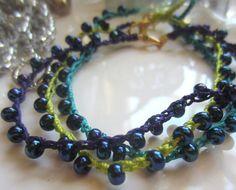 Handmade Beaded Crochet Bracelets set of 3 by GMaEllenCrochetGifts, $12.00