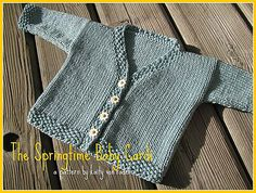 Ravelry: Springtime Baby Cardi pattern by Kaity Fraker.  Free 1 skein project.