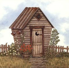 Garden Outhouse II by Linda Spivey art print