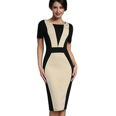 ee4e4f2cc9 Mature Patchwork Vintage Elegant Casual Work Short Sleeve O-Neck Bodycon  Women Office Pencil Slim Dress